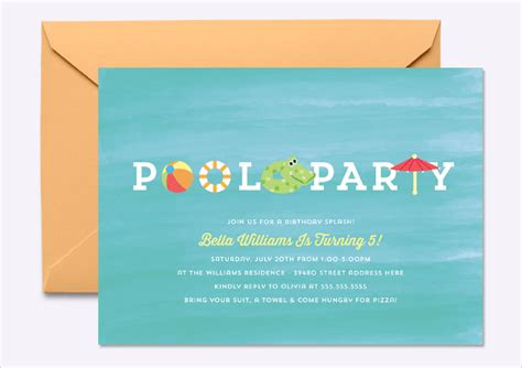 pool invitation template 17 invitation designs templates psd ai free premium templates