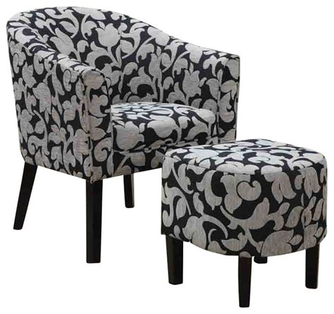 barrel back accent chair and ottoman set with white and