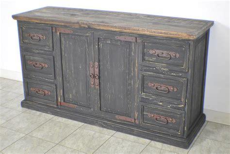 Rustic Pine Black Distressed Sideboard Buffet