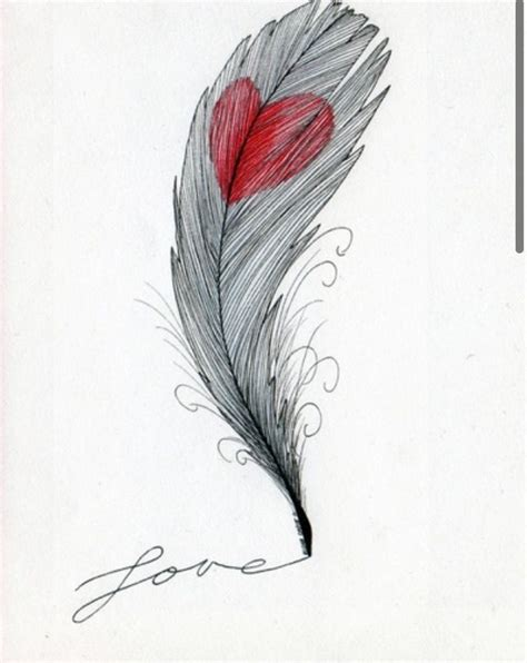 epingle par  phy sur coeur tattoos feather art