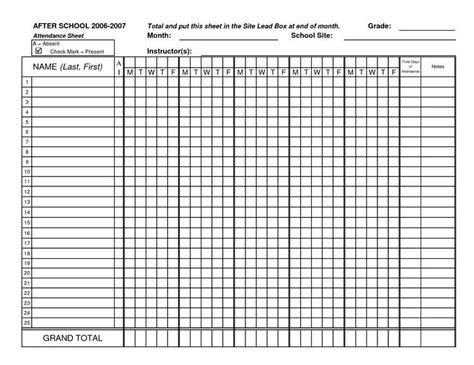 attendance sheet template monthly attendance sheet