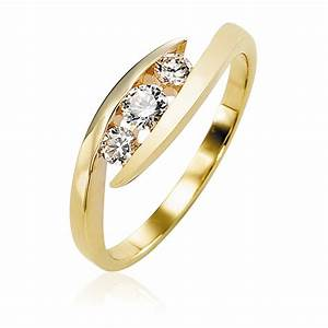 bague diamant trilogie 033ct or jaune galbe eternity With bague or