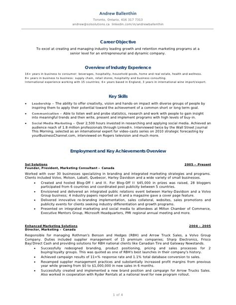 Social Media Marketer Resume Sle by Andrew Ballenthin Marketing Social Media Resume