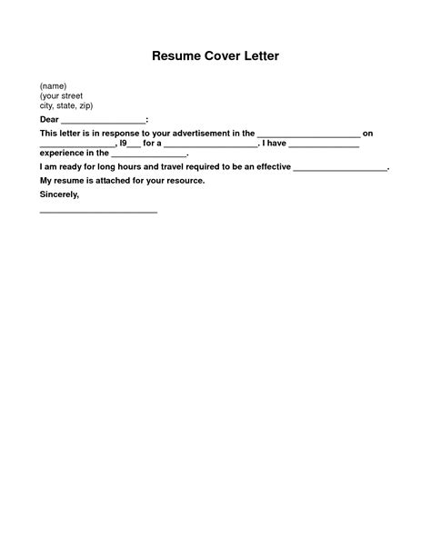 Simple Cover Letter by Basic Cover Letter For A Resume