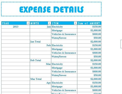 Budget Excel Template Household Budget Expenses My Excel Templates