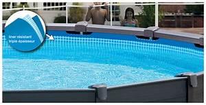 Piscine Tubulaire Intex : piscine hors sol intex graphite habillage pvc gris ~ Nature-et-papiers.com Idées de Décoration