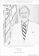 Coloring Bush George President 41st Walker Herbert Teenagers Sheet States United Activity sketch template