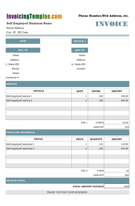 employed invoice template