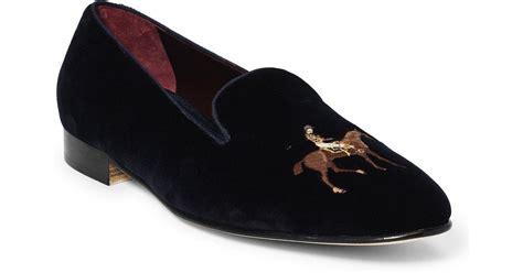 lyst ralph lauren collis velvet horse slipper  black