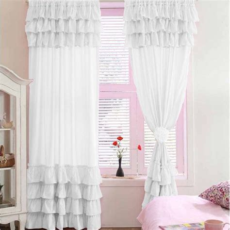 white blackout waterfall window ruffle curtains 100