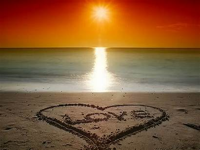 Beach Romantic Quotes Valentine Wallpapers Sunset Heart