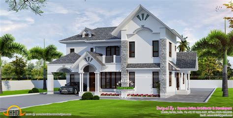 beautiful european style modern house kerala home design