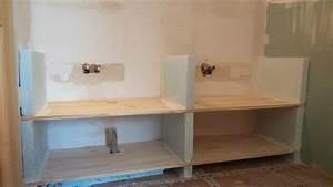 comment fabriquer un meuble vasque avec plan de travail With platre salle de bain