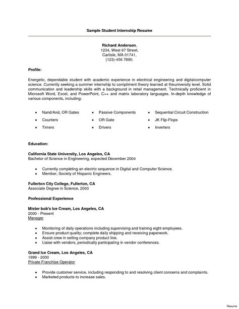 Certification Resume Sle by 13 Resume For Computer Science Internship Exles