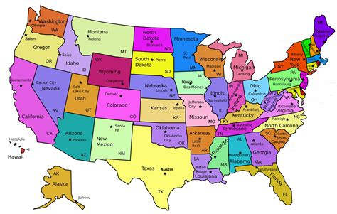 Map Of United States Capitals