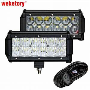 Weketory 2pcs 7 Inch 60w 4d 5d Led Work Light Bar For Tractor Boat Offroad 4wd 4x4 Truck Suv Atv