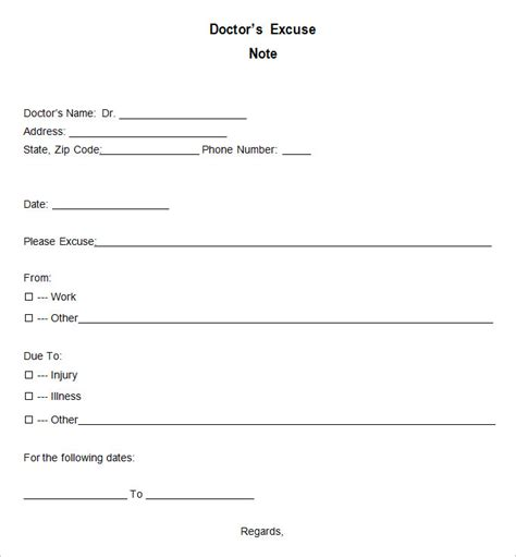 doctor excuse templates   ms word pages