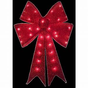 Home, Christmas, Holiday, 24, In, Red, Tinsel, Lighted, Outdoor, Bow