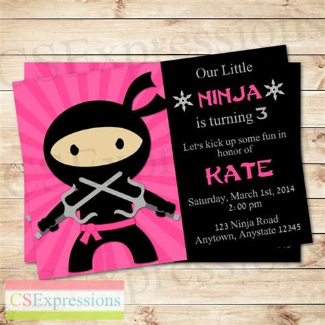 pink girl ninja party birthday invitation