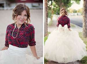plaid winter bride in flannel full tulle skirt with back With flannel wedding dress