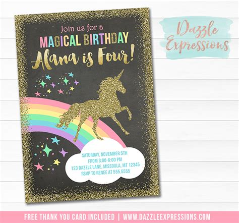 printable unicorn chalkboard birthday invitation magical