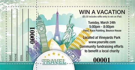 raffle ticket designs   travel themed prize