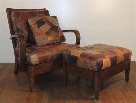 wooden chair  patchwork leather cushion seat