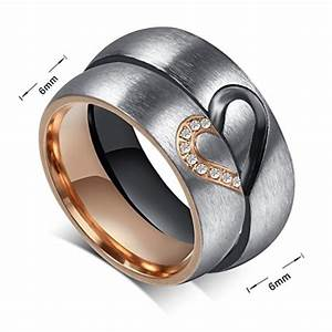 womens mens wedding rings heart ring matching stainless With women s stainless steel wedding rings