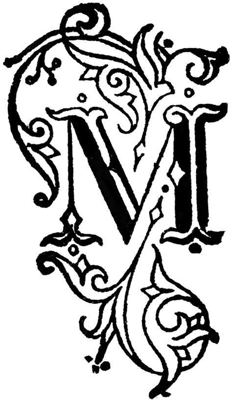 fancy letter m decorative letter m clipart etc 36789