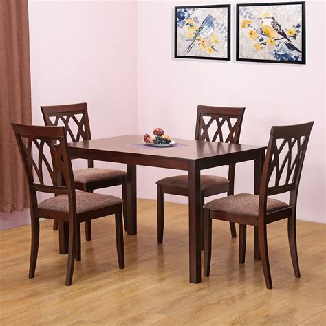 home by nilkamal peak four seater dining table set beige