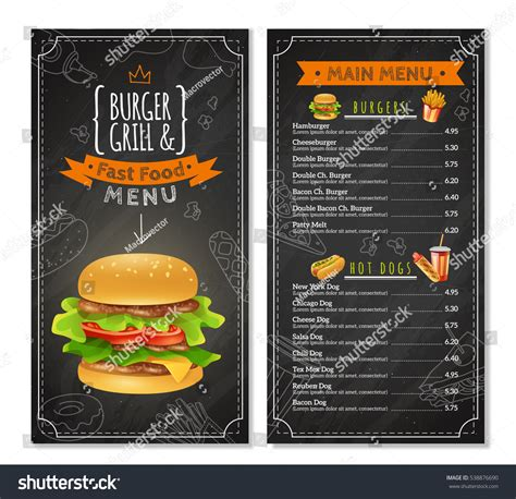 fast food menu prices  kinds stock vector