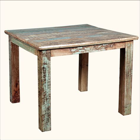 furniture kitchen table rustic reclaimed wood distressed 40 quot square kitchen dining