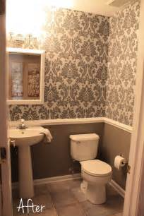 wallpaper for bathrooms ideas small downstairs bathroom like the wallpaper and chair rail idea mostly gray with a bit of
