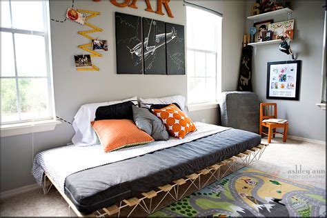 orange airplanes  girly shared boys bedroom