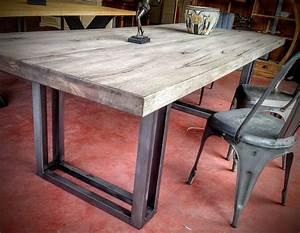 Table Industrielle Bois : table pied acier plateau bois vs29 montrealeast ~ Teatrodelosmanantiales.com Idées de Décoration