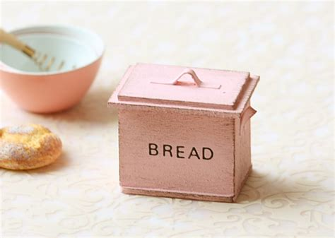 Dollhouse Miniature Shabby Chic Sweet Pink Bread Box