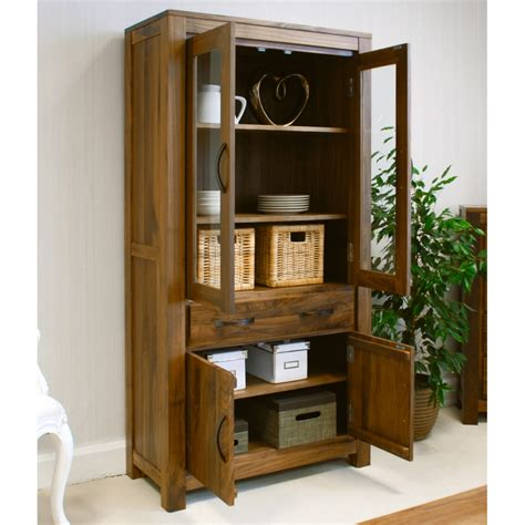 Display Bookcase by Mayan Large Glazed Bookcase Display Cabinet Solid Walnut