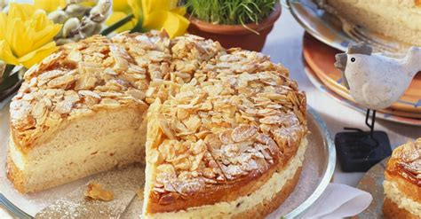 layered almond cake  honey cream filling recipe