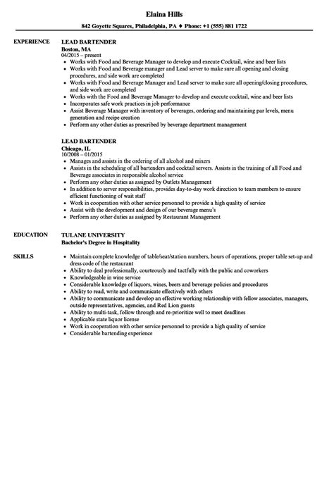 Bartender Resume Sle by Resume Exles Chronological Resume Template Simple
