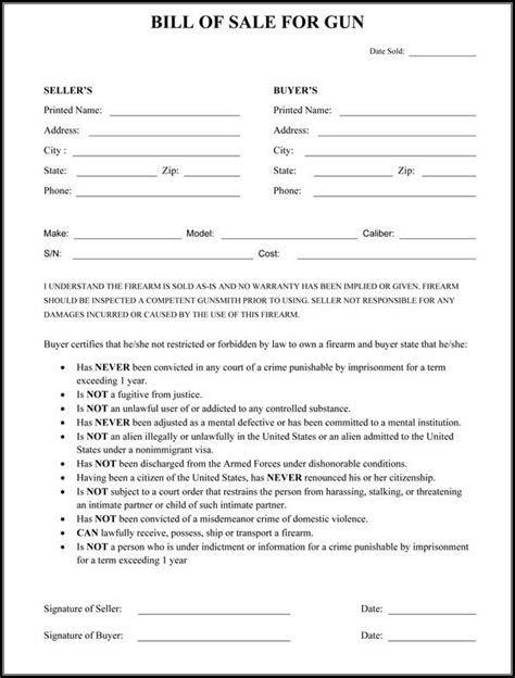 gun bill  sale form interesting info bill  sale