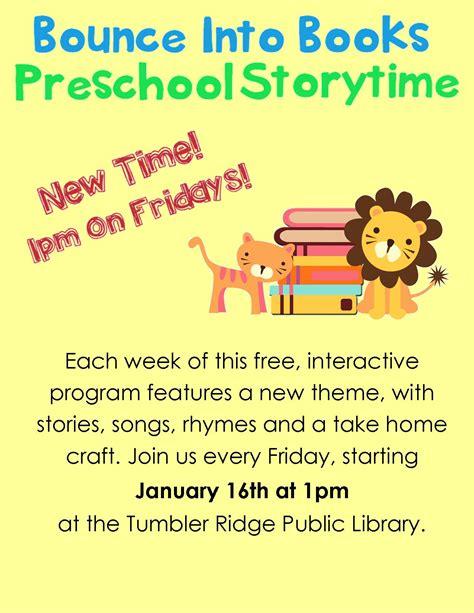 preschool storytime tumbler ridge library 569 | Storytime poster January 2015