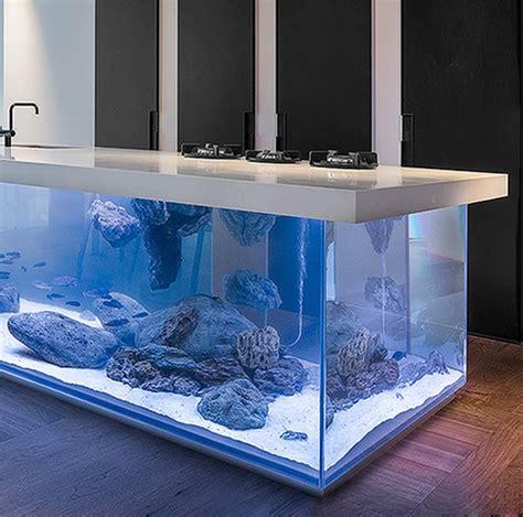 ocean kitchen  giant aquarium kitchen island