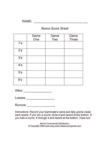 bunco score sheet