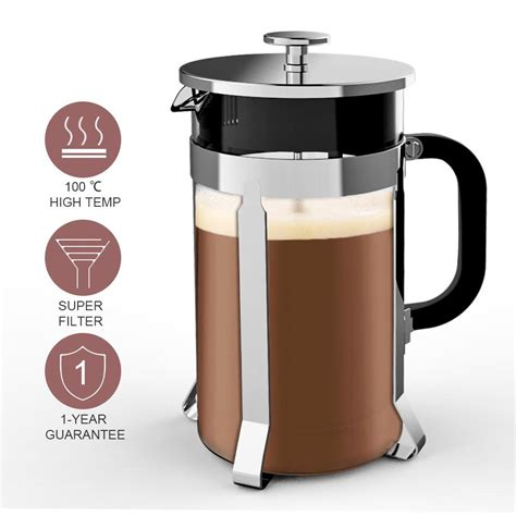 This means you'll need about 65 grams of coffee for. OTVIAP French Press Coffee Maker(8 Cup, 1 liter, 34 Oz) French Press with 4 Filter System, 304 ...