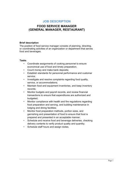 description cuisine restaurant manager description 2016 recentresumes com