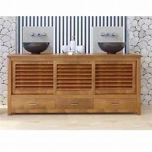 Meuble Teck Salle De Bain : meuble bas de salle de bain teck java ~ Edinachiropracticcenter.com Idées de Décoration