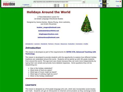 Holidays Around The World Lesson Plan For 1st