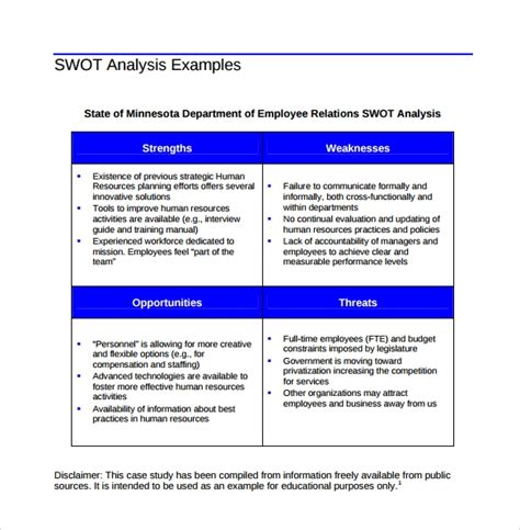 swot analysis templates   documents   word