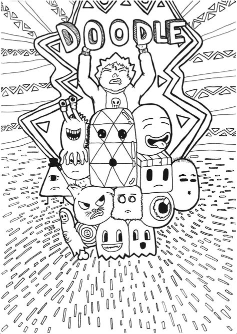 doodle personnages coloriage doodle art coloriages
