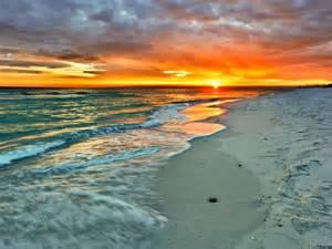Orange Green Sunset Beach Waves Fine Art Prints